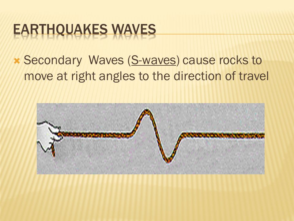  Secondary Waves (S-waves) cause rocks to move at right angles to the direction of travel