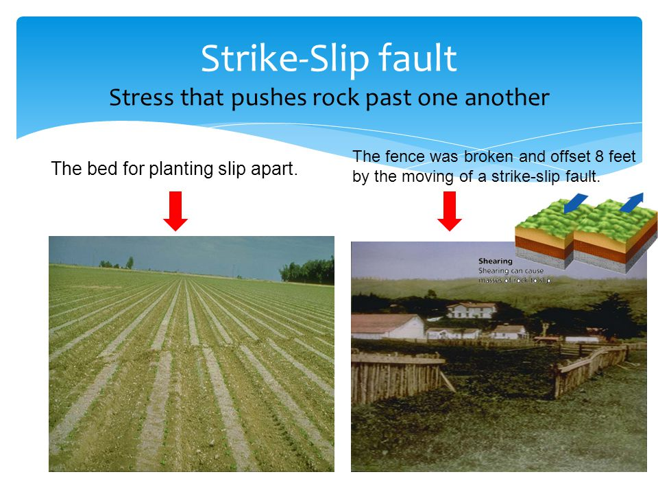 Strike-Slip fault Stress that pushes rock past one another The bed for planting slip apart.