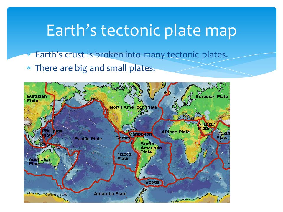  Earth's crust is broken into many tectonic plates.