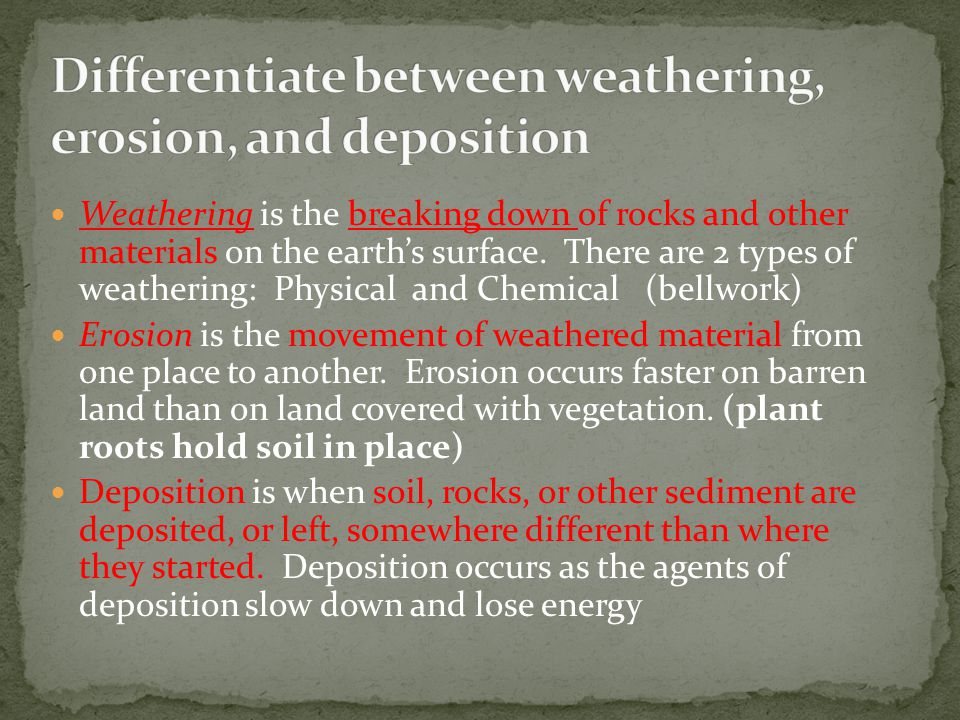Weathering is the breaking down of rocks and other materials on the earth's surface. There are 2 types of weathering: Physical and Chemical (bellwork)
