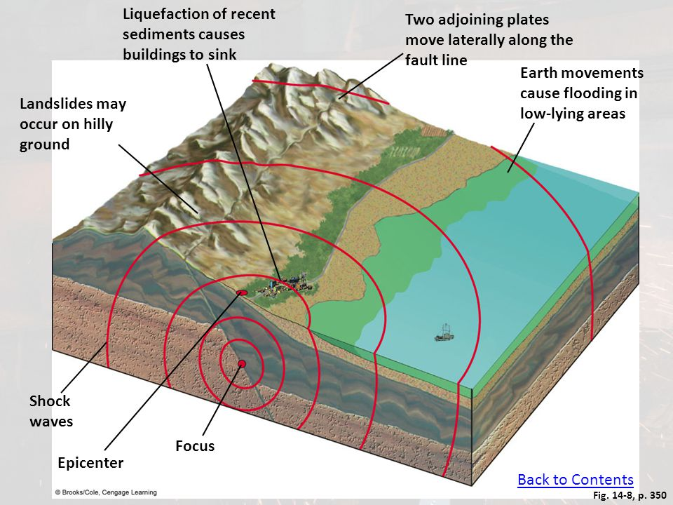 Fig. 14-8, p. 350 Liquefaction of recent sediments causes buildings to sink Two adjoining plates move laterally along the fault line Earth movements c