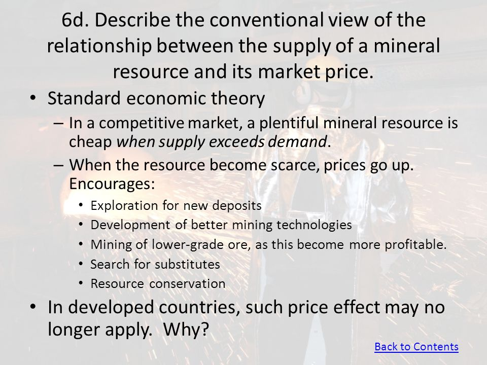 6d. Describe the conventional view of the relationship between the supply of a mineral resource and its market price. Standard economic theory – In a