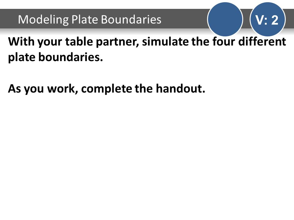 With your table partner, simulate the four different plate boundaries.