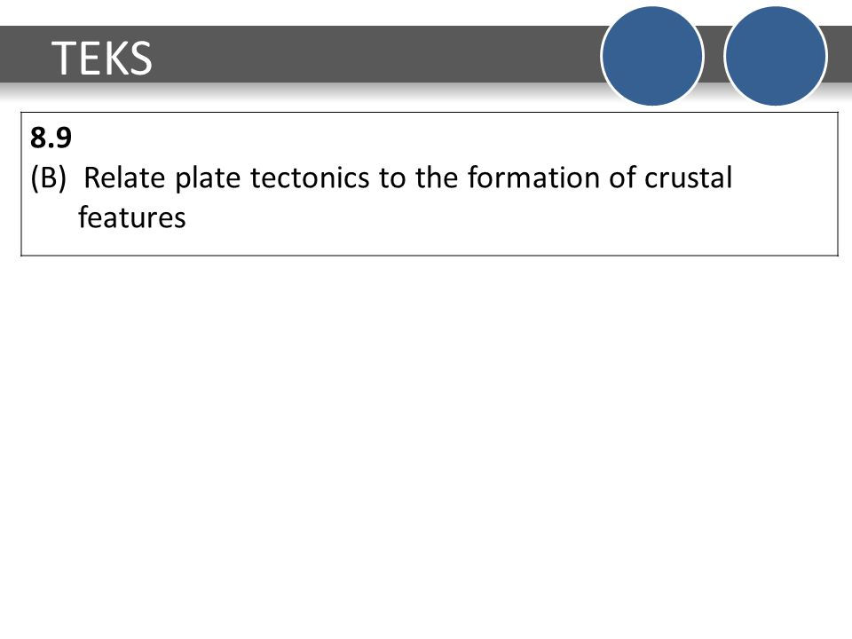 TEKS 8.9 (B) Relate plate tectonics to the formation of crustal features