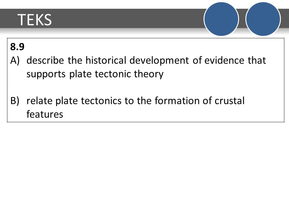 TEKS 8.9 A)describe the historical development of evidence that supports plate tectonic theory B)relate plate tectonics to the formation of crustal features