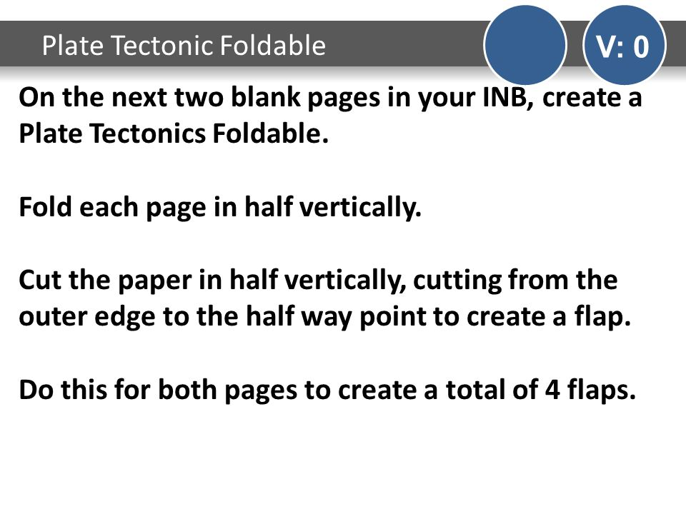 On the next two blank pages in your INB, create a Plate Tectonics Foldable.