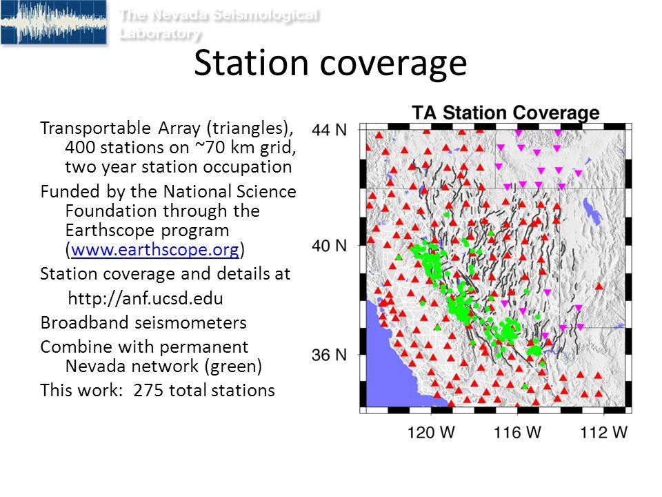 Conclusions Transportable Array data provides unprecedented coverage.