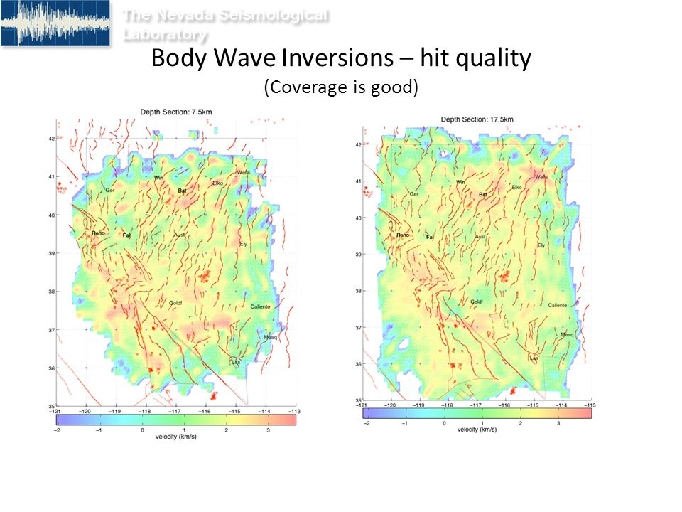 Vp in the 5-10 km layer P-wave velocities from 5.5 to 6.35 km
