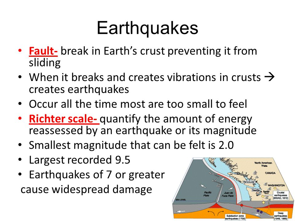 Earthquakes Fault- break in Earth's crust preventing it from sliding When it breaks and creates vibrations in crusts  creates earthquakes Occur all t