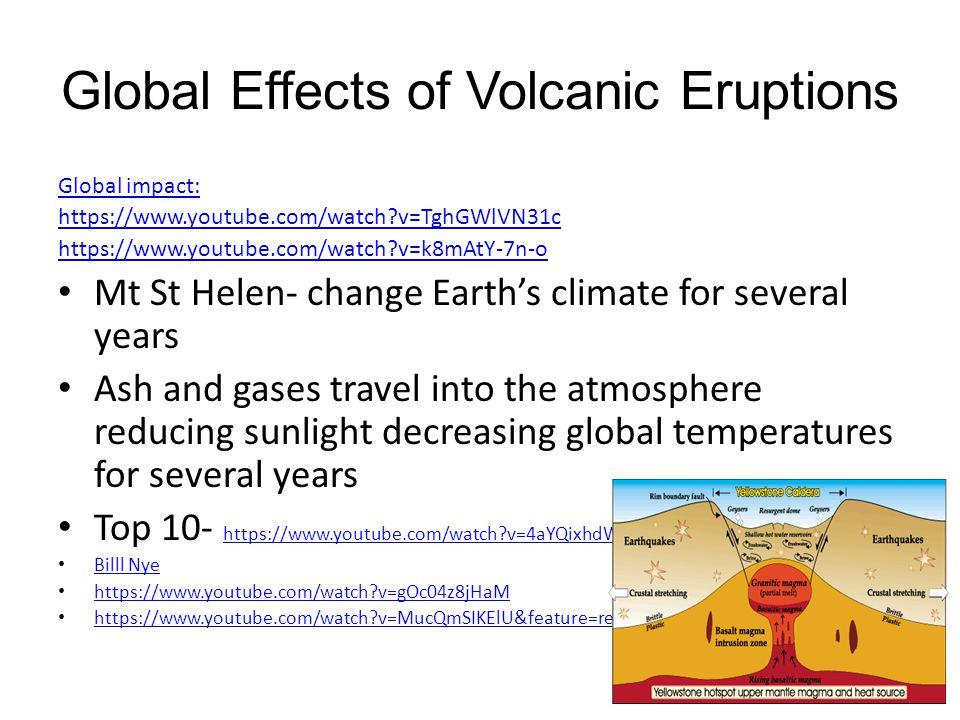 Global Effects of Volcanic Eruptions Global impact: https://www.youtube.com/watch?v=TghGWlVN31c https://www.youtube.com/watch?v=k8mAtY-7n-o Mt St Hele