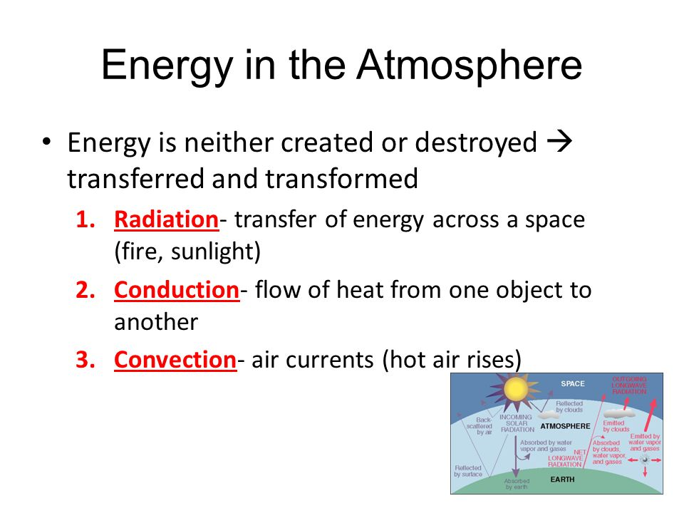 Energy in the Atmosphere Energy is neither created or destroyed  transferred and transformed 1.Radiation- transfer of energy across a space (fire, su