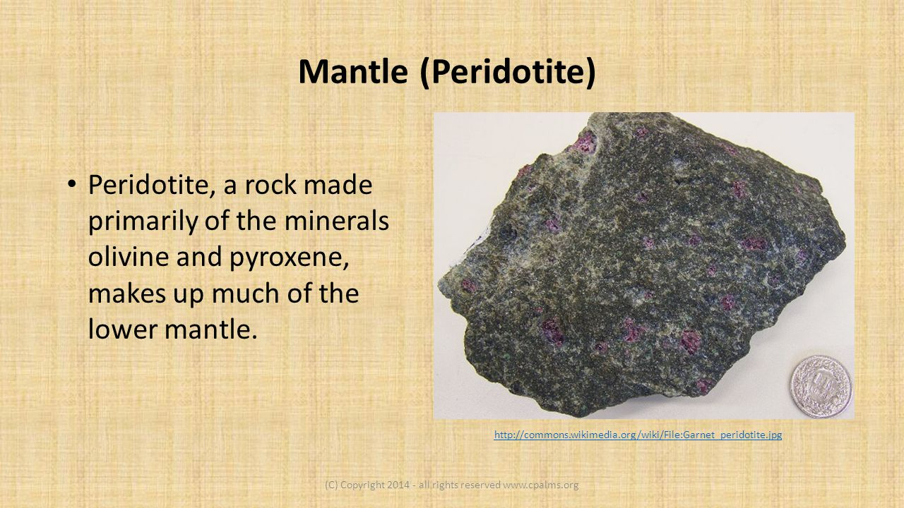 Mantle (Peridotite) Peridotite, a rock made primarily of the minerals olivine and pyroxene, makes up much of the lower mantle.