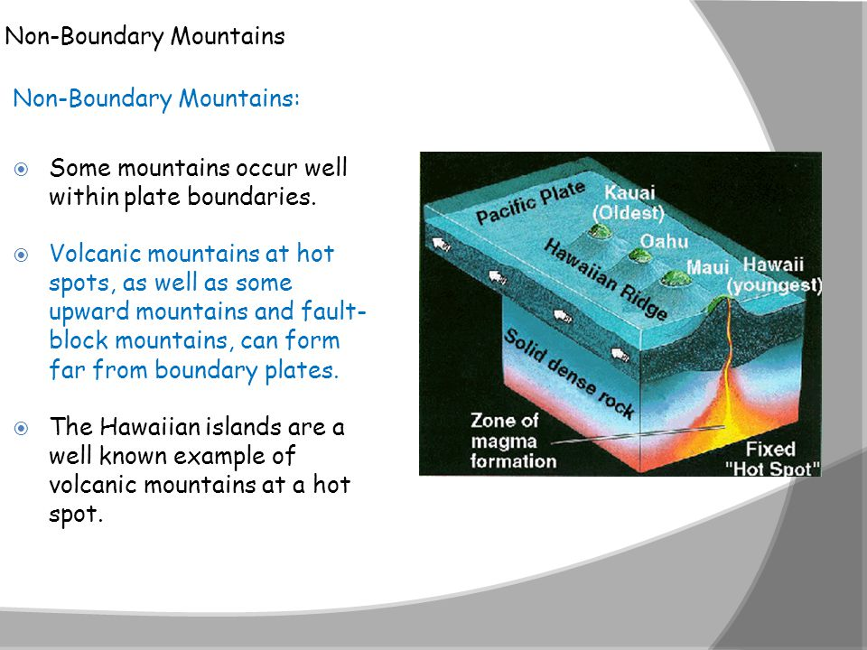 Non-Boundary Mountains Non-Boundary Mountains:  Some mountains occur well within plate boundaries.  Volcanic mountains at hot spots, as well as some