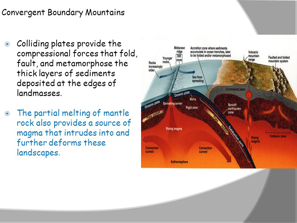 Convergent Boundary Mountains  Colliding plates provide the compressional forces that fold, fault, and metamorphose the thick layers of sediments dep