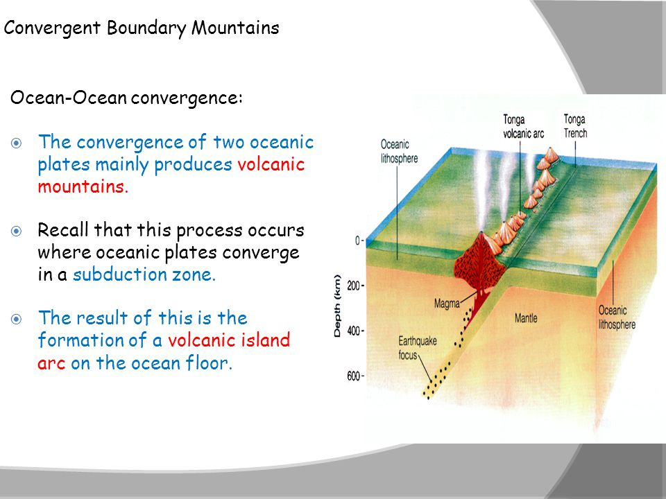 Convergent Boundary Mountains Ocean-Ocean convergence:  The convergence of two oceanic plates mainly produces volcanic mountains.  Recall that this