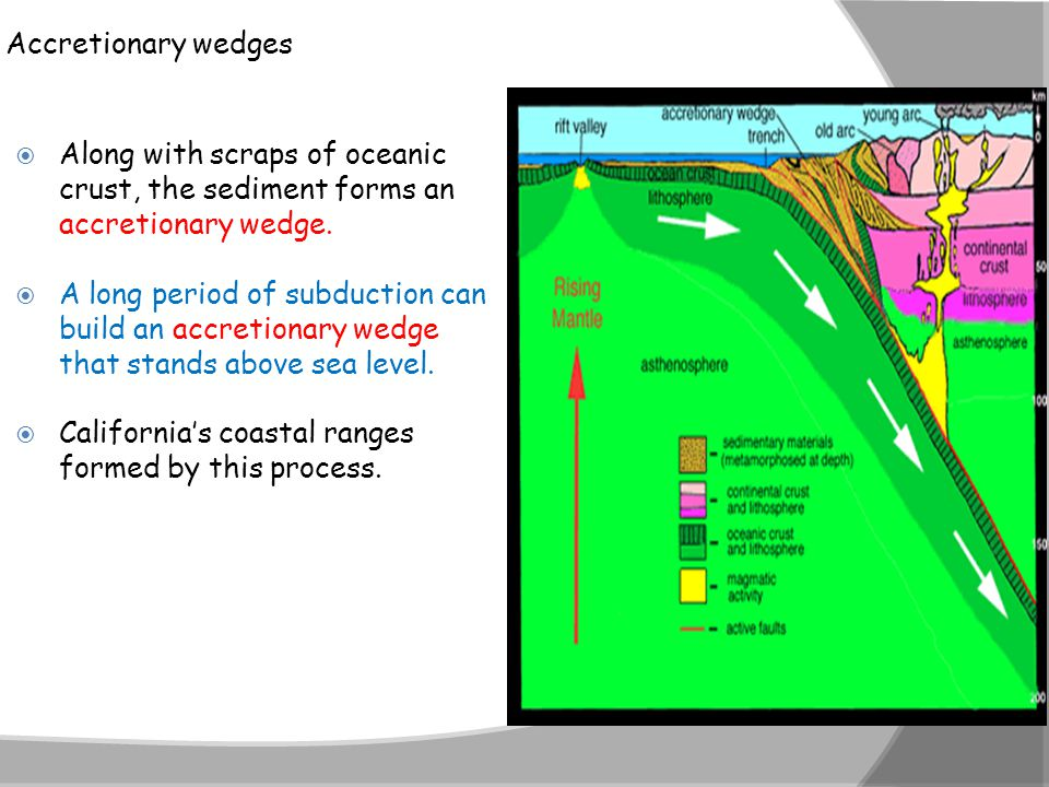 Accretionary wedges  Along with scraps of oceanic crust, the sediment forms an accretionary wedge.  A long period of subduction can build an accreti