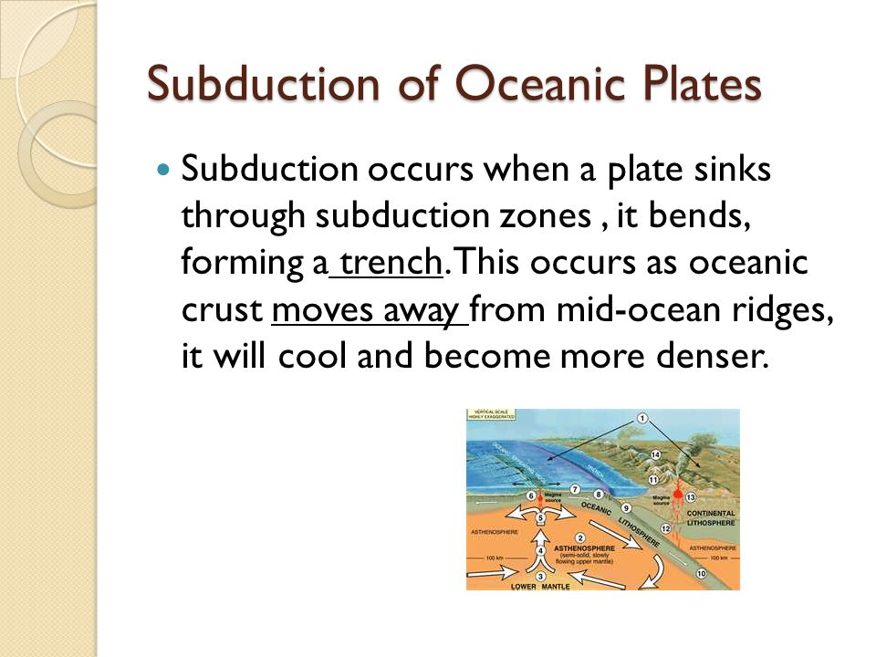 Subduction of Oceanic Plates Subduction occurs when a plate sinks through subduction zones, it bends, forming a trench. This occurs as oceanic crust m