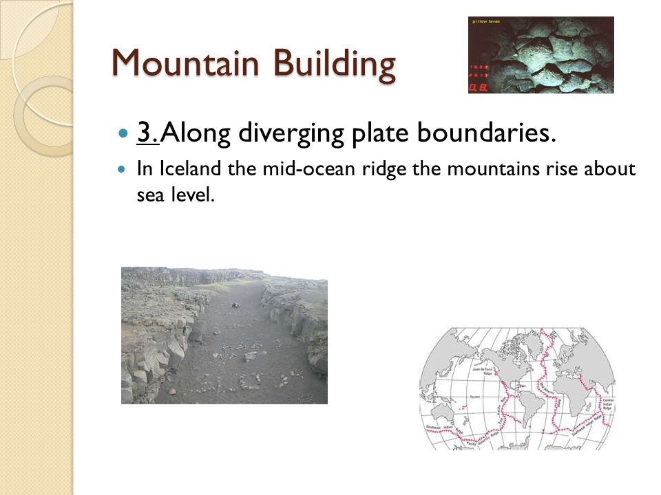 Mountain Building 3. Along diverging plate boundaries. In Iceland the mid-ocean ridge the mountains rise about sea level.