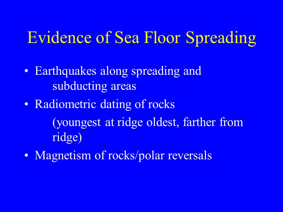 Evidence of Sea Floor Spreading Earthquakes along spreading and subducting areas Radiometric dating of rocks (youngest at ridge oldest, farther from ridge) Magnetism of rocks/polar reversals