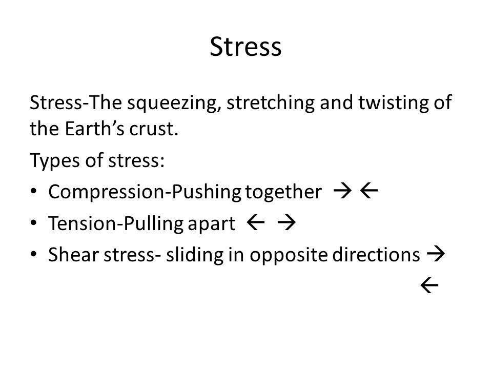 Stress Stress-The squeezing, stretching and twisting of the Earth's crust.