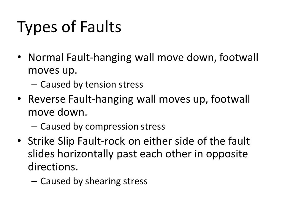 Types of Faults Normal Fault-hanging wall move down, footwall moves up.