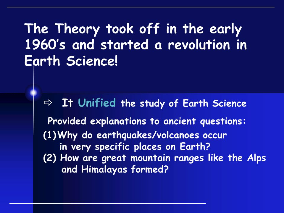 The Theory took off in the early 1960's and started a revolution in Earth Science.