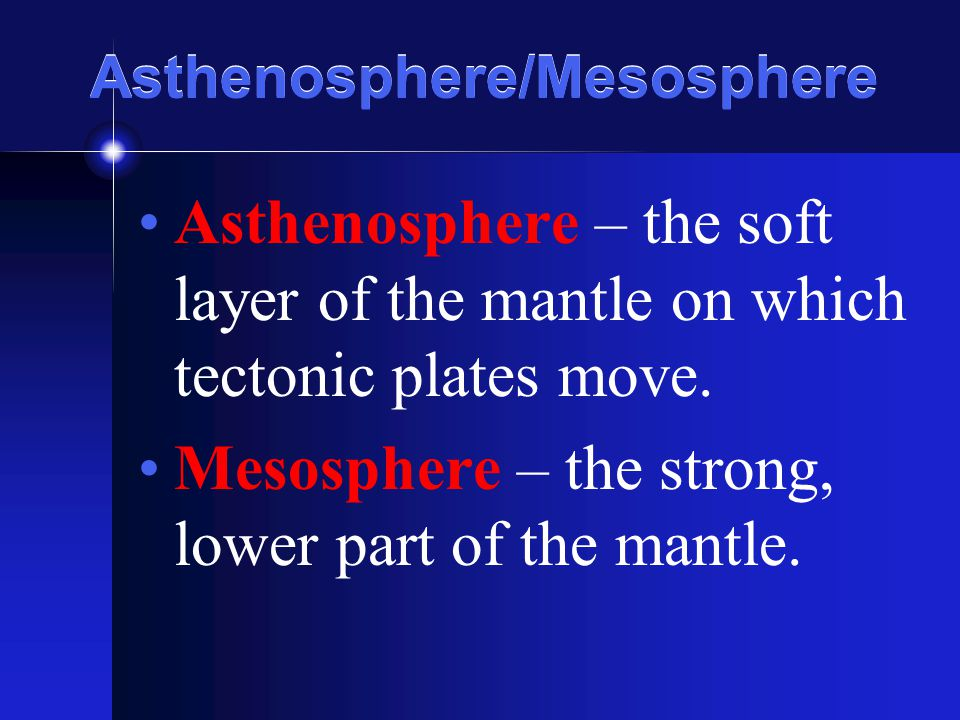 Asthenosphere/Mesosphere Asthenosphere – the soft layer of the mantle on which tectonic plates move. Mesosphere – the strong, lower part of the mantle