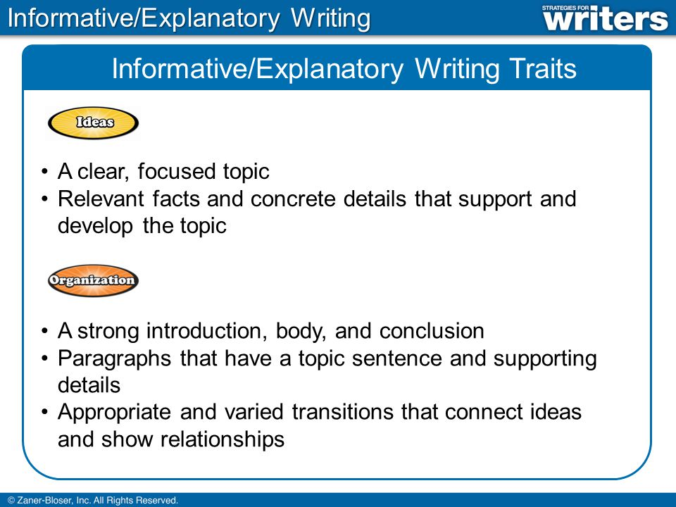 Informative/Explanatory Writing Traits Exact, concise language Domain-specific vocabulary that is used correctly and explained as necessary Appropriate voice for the purpose and audience An informative, respectful, and consistent tone Clear sentences with structure that supports the purpose Sentences that flow together smoothly No or few errors in grammar, usage, and mechanics Informative/Explanatory Writing