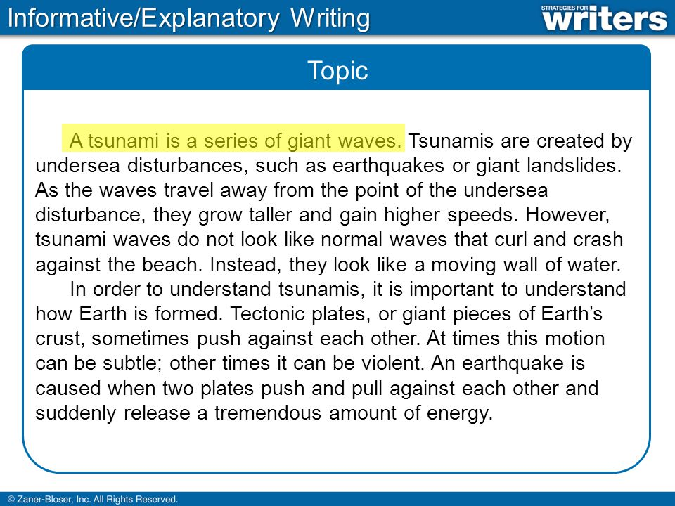 Topic A tsunami is a series of giant waves. Tsunamis are created by undersea disturbances, such as earthquakes or giant landslides. As the waves trave