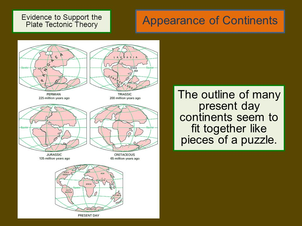 Evidence to Support the Plate Tectonic Theory Appearance of Continents The outline of many present day continents seem to fit together like pieces of