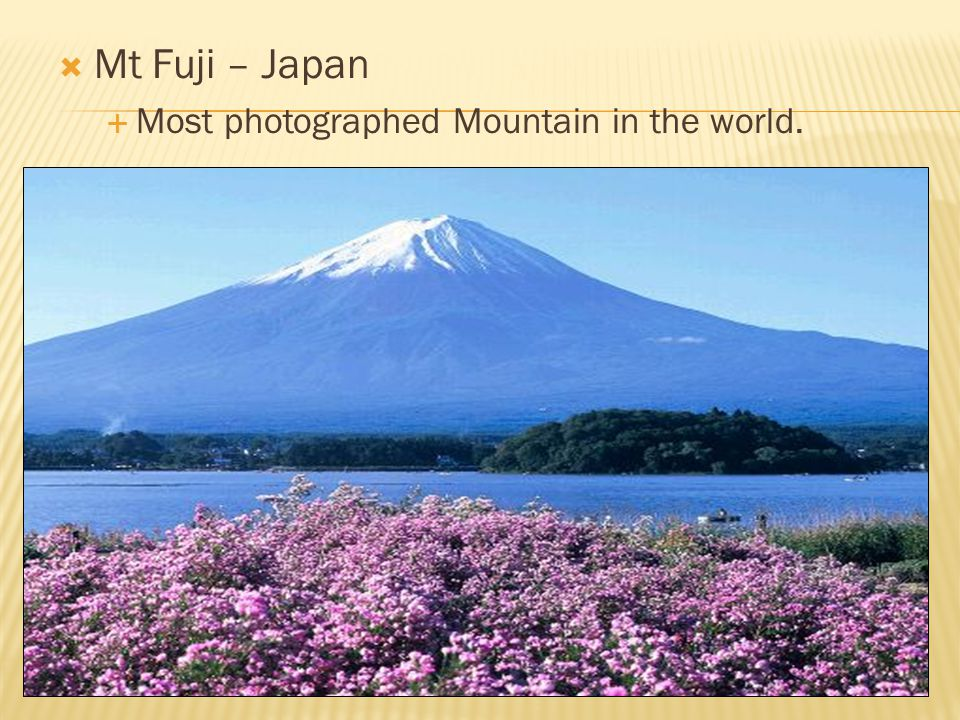  Mt Fuji – Japan  Most photographed Mountain in the world.