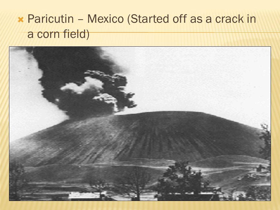  Paricutin – Mexico (Started off as a crack in a corn field)