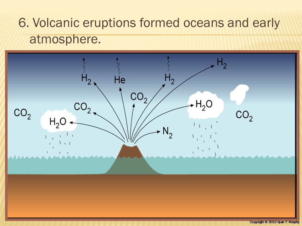 6. Volcanic eruptions formed oceans and early atmosphere. Copyright © 2010 Ryan P. Murphy