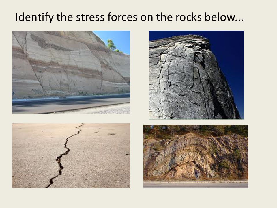 Identify the stress forces on the rocks below...