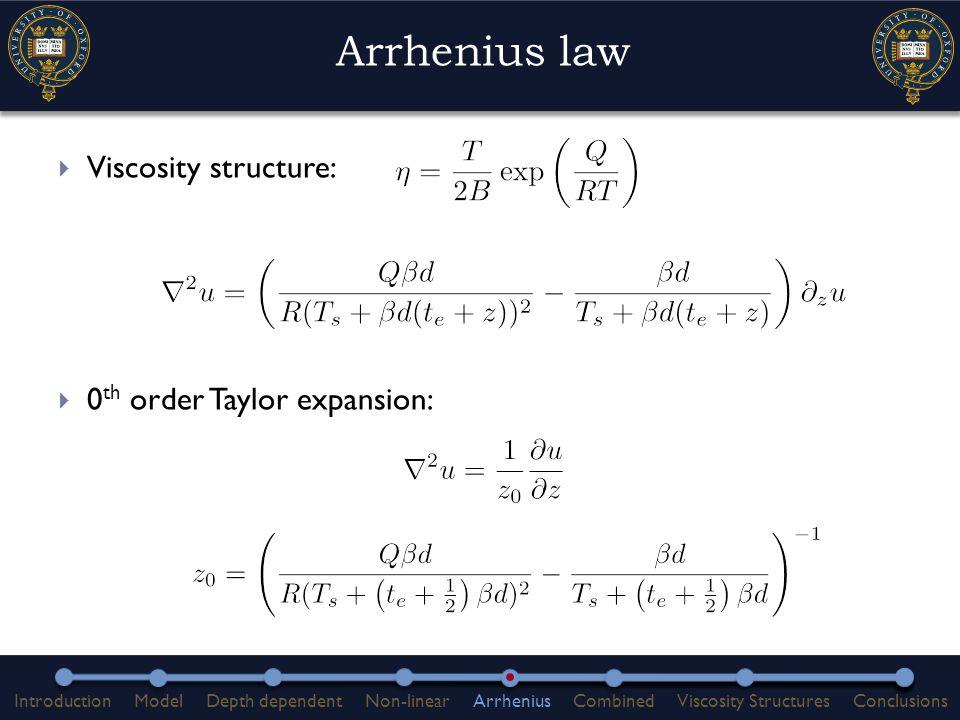 Arrhenius law  Viscosity structure:  0 th order Taylor expansion: IntroductionModelDepth dependentNon-linearArrheniusCombinedViscosity StructuresConclusions
