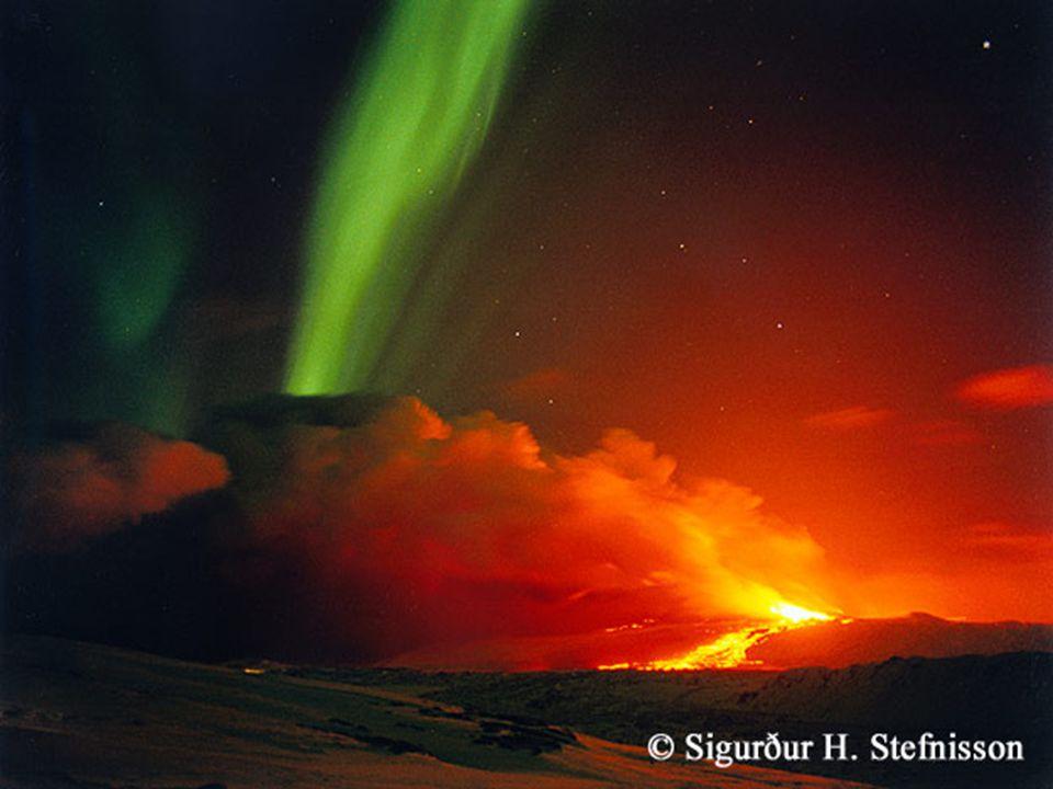 Aurora, iceland volcano