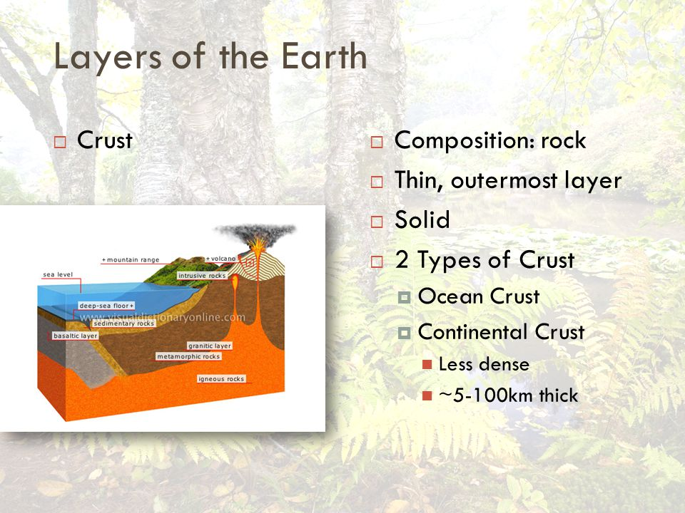 Layers of the Earth  Crust  Composition: rock  Thin, outermost layer  Solid  2 Types of Crust  Ocean Crust  Continental Crust Less dense ~5-100km thick