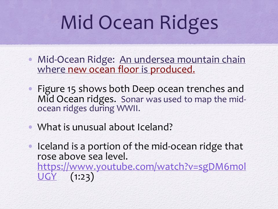 Mid Ocean Ridges Mid-Ocean Ridge: An undersea mountain chain where new ocean floor is produced.