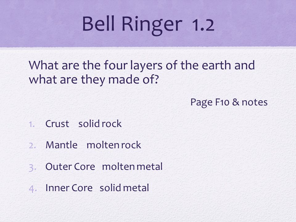 Bell Ringer 1.2 What are the four layers of the earth and what are they made of.