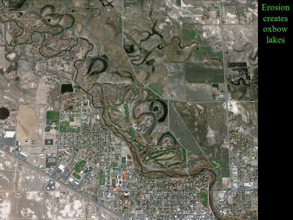 Erosion creates oxbow lakes