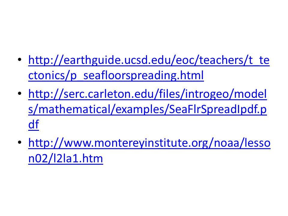 http://earthguide.ucsd.edu/eoc/teachers/t_te ctonics/p_seafloorspreading.html http://earthguide.ucsd.edu/eoc/teachers/t_te ctonics/p_seafloorspreading.html http://serc.carleton.edu/files/introgeo/model s/mathematical/examples/SeaFlrSpreadIpdf.p df http://serc.carleton.edu/files/introgeo/model s/mathematical/examples/SeaFlrSpreadIpdf.p df http://www.montereyinstitute.org/noaa/lesso n02/l2la1.htm http://www.montereyinstitute.org/noaa/lesso n02/l2la1.htm