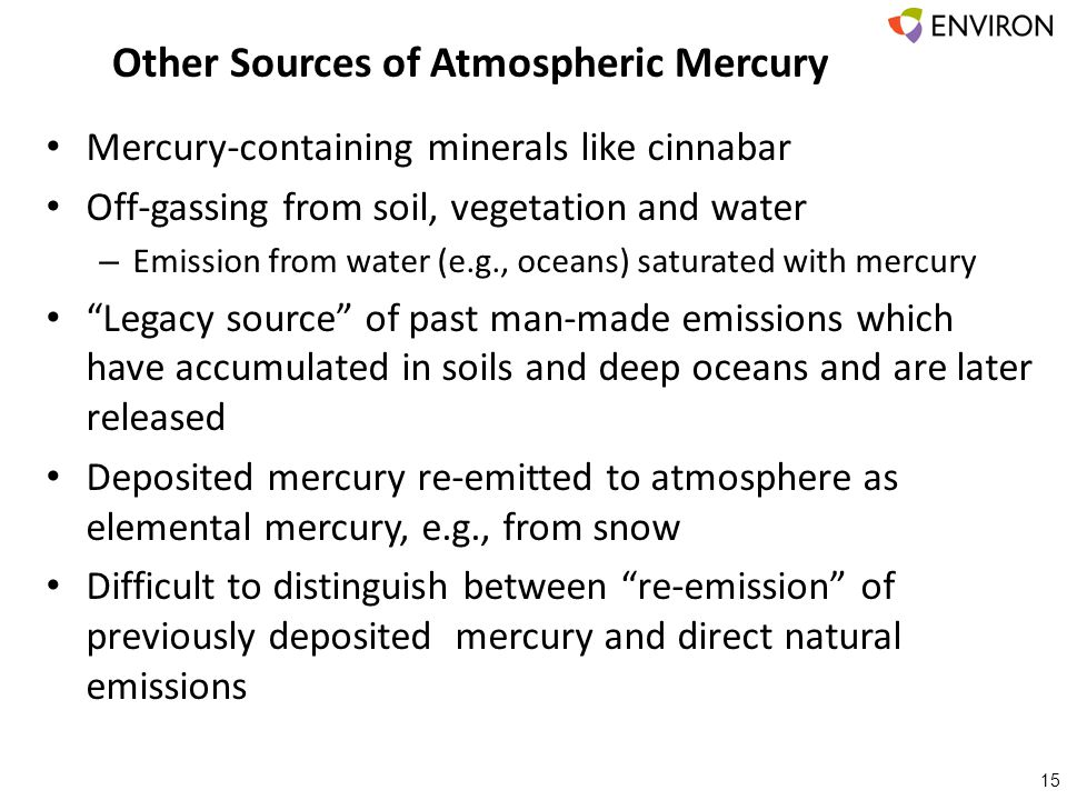 Other Sources of Atmospheric Mercury 15 Mercury-containing minerals like cinnabar Off-gassing from soil, vegetation and water – Emission from water (e