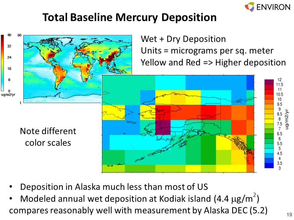 Total Baseline Mercury Deposition 19 Wet + Dry Deposition Units = micrograms per sq. meter Yellow and Red => Higher deposition Deposition in Alaska mu