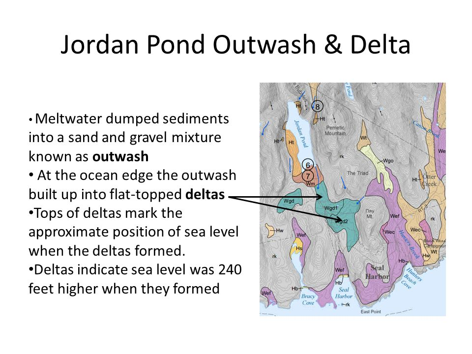 Jordan Pond Outwash & Delta Meltwater dumped sediments into a sand and gravel mixture known as outwash At the ocean edge the outwash built up into flat-topped deltas Tops of deltas mark the approximate position of sea level when the deltas formed.