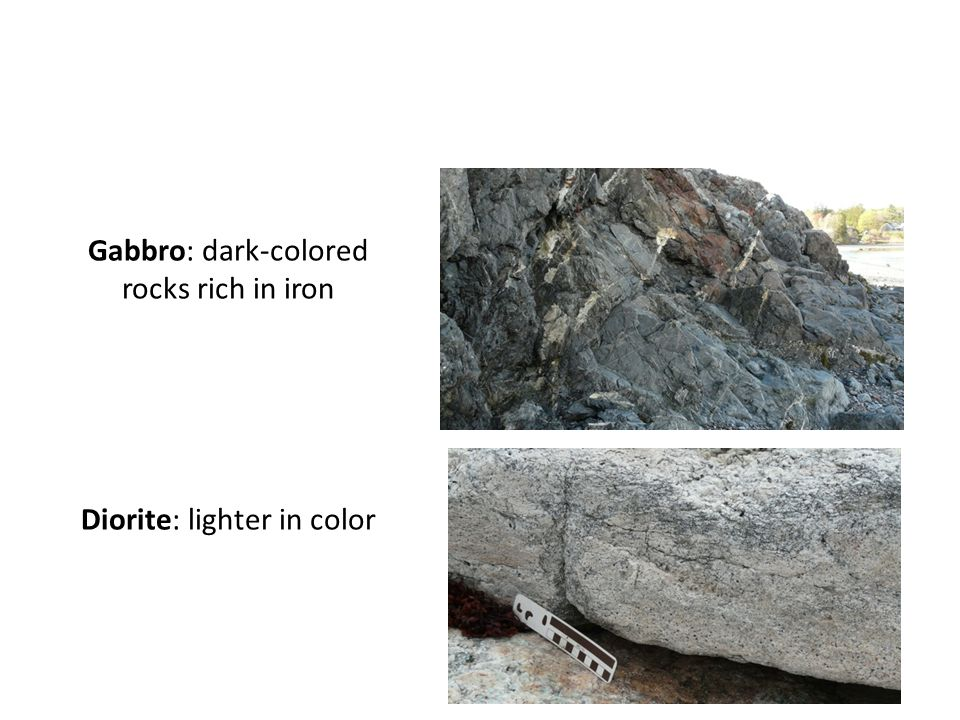 Gabbro: dark-colored rocks rich in iron Diorite: lighter in color