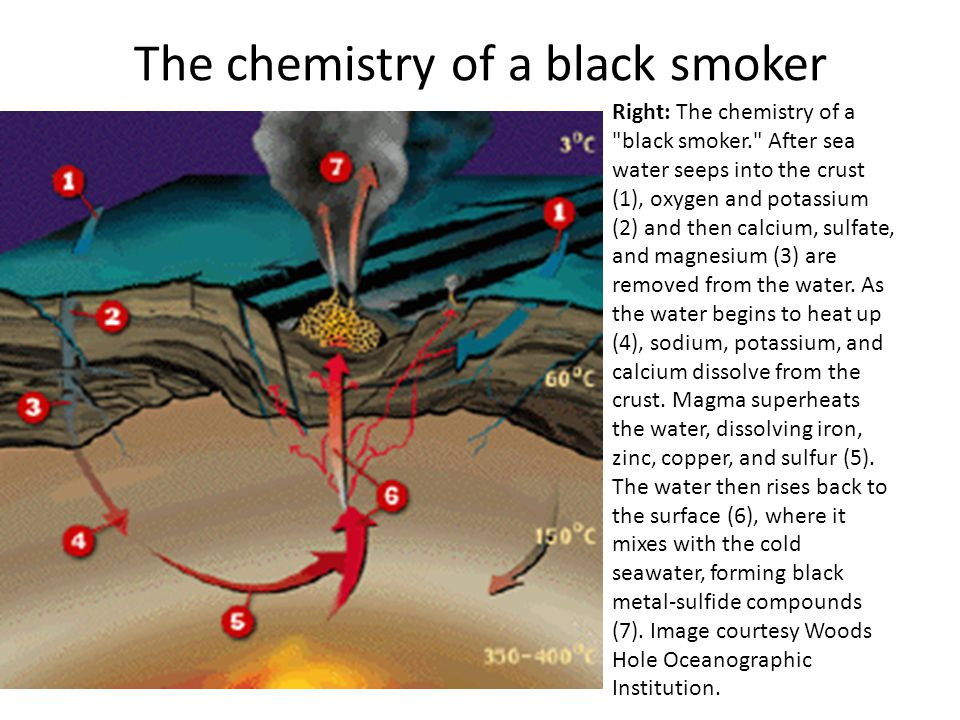 The chemistry of a black smoker Right: The chemistry of a black smoker. After sea water seeps into the crust (1), oxygen and potassium (2) and then calcium, sulfate, and magnesium (3) are removed from the water.