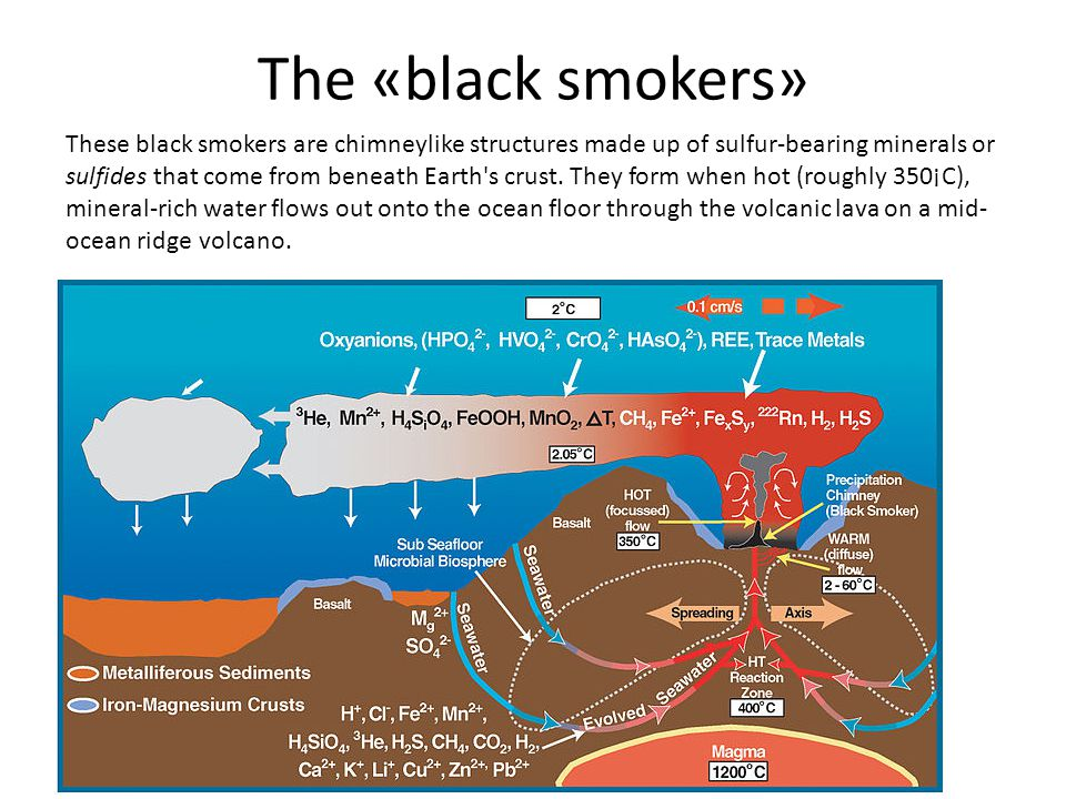 The «black smokers» These black smokers are chimneylike structures made up of sulfur-bearing minerals or sulfides that come from beneath Earth s crust.