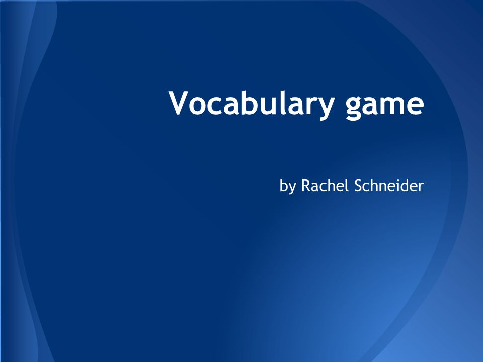 Vocabulary game by Rachel Schneider