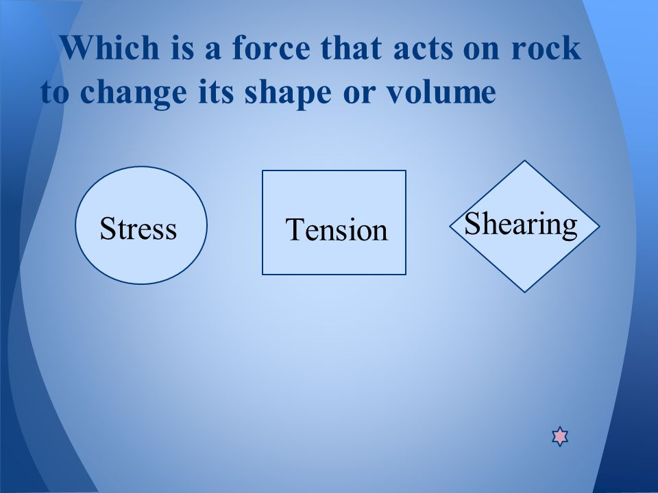 Which is a force that acts on rock to change its shape or volume Tension Stress Shearing