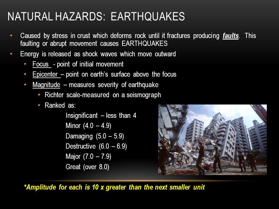 NATURAL HAZARDS: EARTHQUAKES Caused by stress in crust which deforms rock until it fractures producing faults. This faulting or abrupt movement causes
